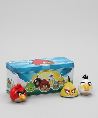 This trio of characters from the addictive Angry Birds game come packed in  a tin case for easy take-along.