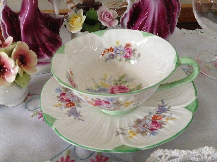 Shelley Oleander Shape Floral Green Trim Teacup and Saucer 13474   eBay