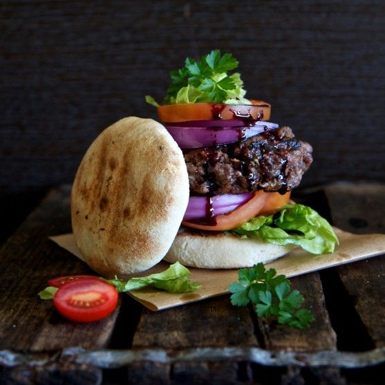 """Ostrich burger with red wine reduction   Freshly Blogged. This recipe calls for """"mealie meal"""", which is maize flour or meal [cat. South African food]"""