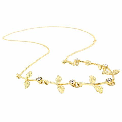 Sweet Rhinestone Leaf Link Chain Hair Band For Women #jewelry, #women, #men, #hats, #watches, #belts