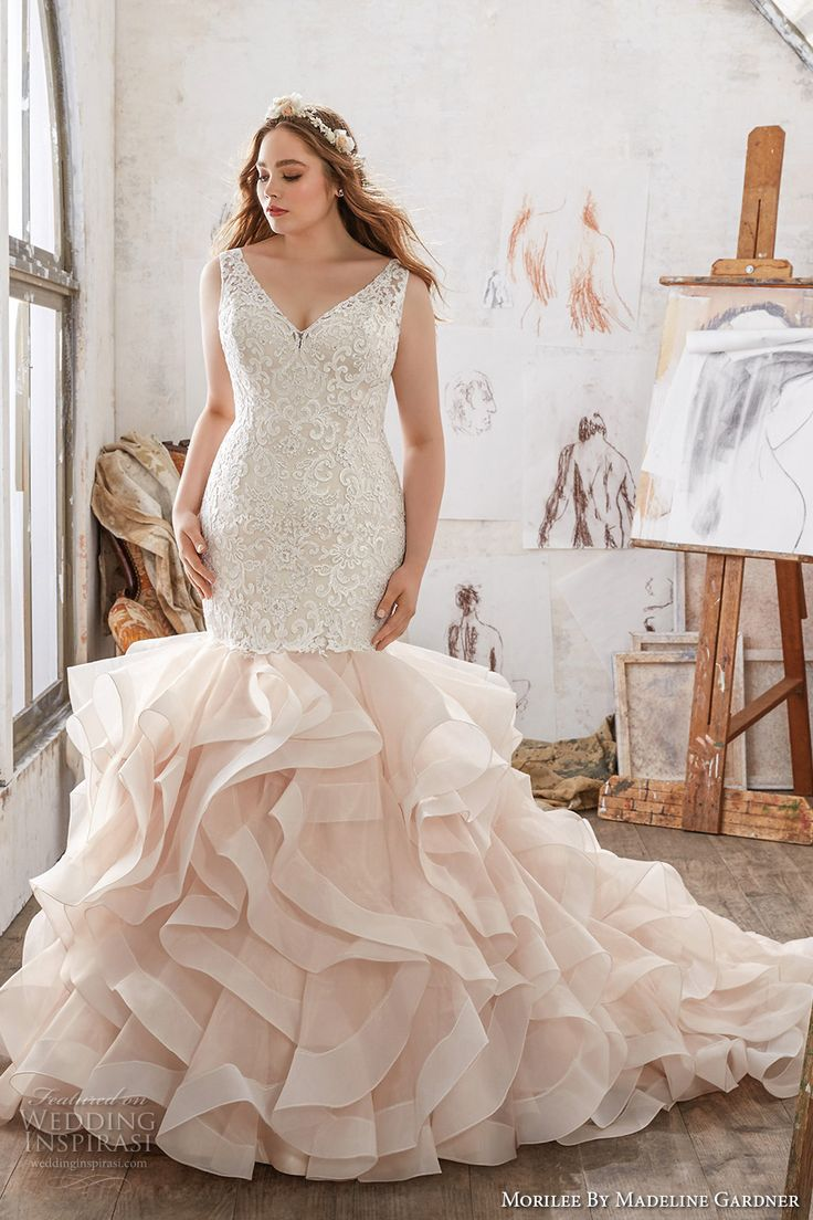 216 best images about pink blush gowns on pinterest for Plus size wedding dress designers
