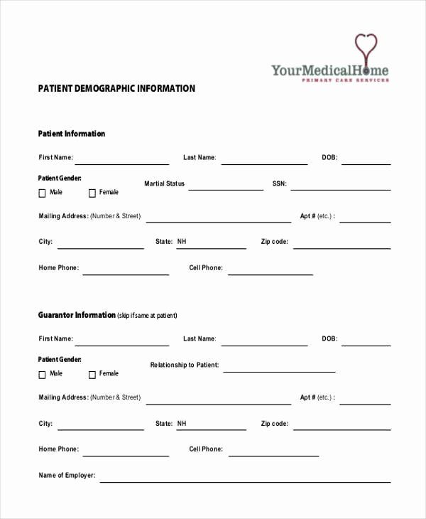 Inspirational Patient Information Form Template In 2020