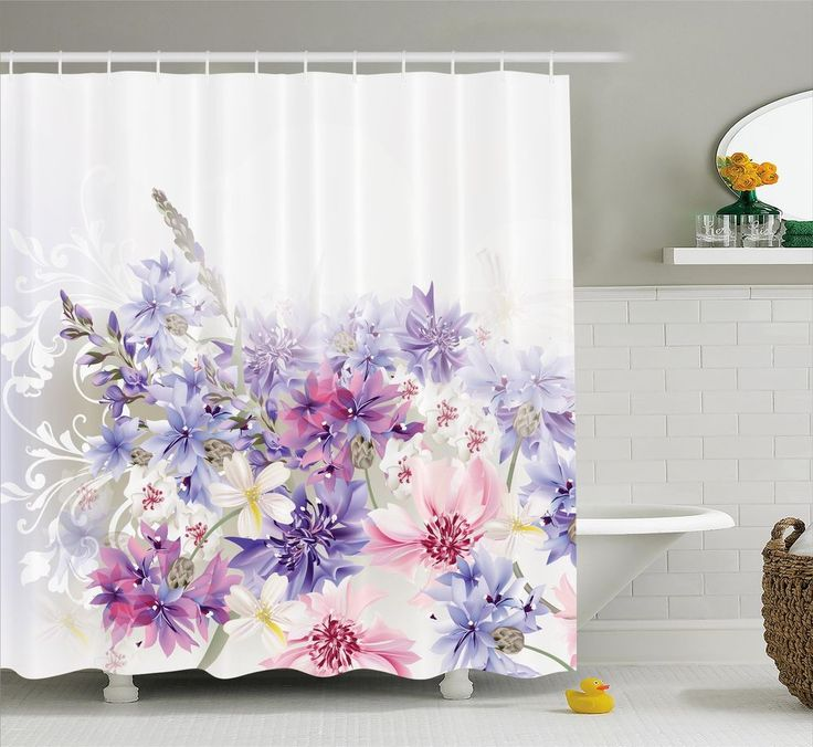 """Lavender Shower Curtain Pink Purple Flowers Print for Bathroom 84"""" Extralong #Ambesonne"""