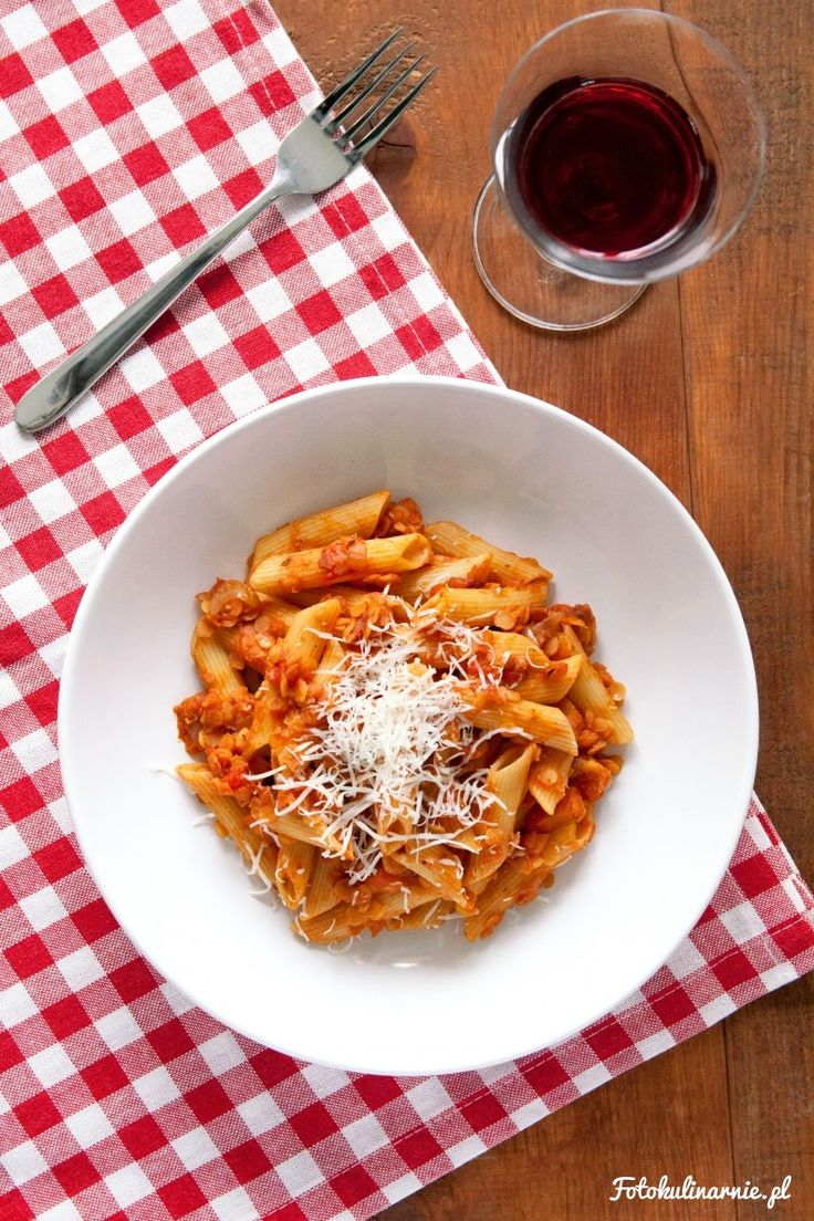 Penne with Lentil Bolognese Sauce.