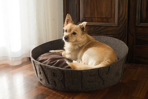 Small medium dog bed organic cotton Customizable with name washable durable wool felt dark brown