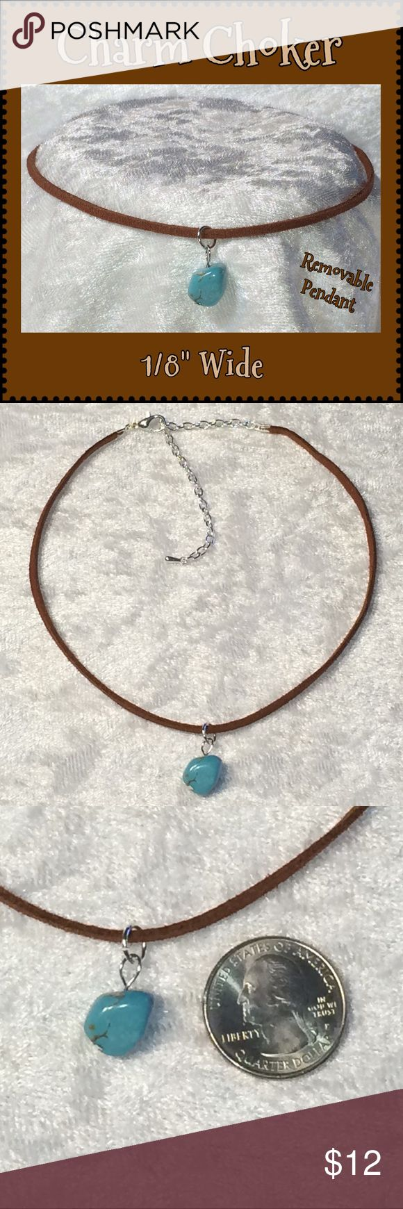 """Chestnut Brown Faux Suede Blue Nugget Charm Choker This chestnut brown vegan faux suede 1/8""""W choker is 12 1/2"""" long w/ 3 1/2"""" silver-plated extender & removable turquoise-colored resin nugget charm pendant. Handcrafted by me.   Can be made longer or shorter. 35 faux suede colors available. For different color/charm see chart listings & ask for custom order.  Jewelry items priced firm as single purchase due to material cost & PM fees.   Bundle special on guitar pick/choker/charm jewelry…"""