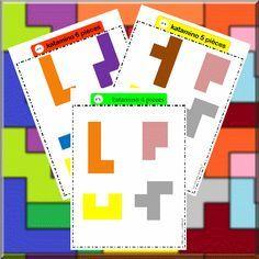 Página en francés con fichas para imprimir desafios a realizar con las  piezas de pentominó. #pentominó #matemáticas #geometría