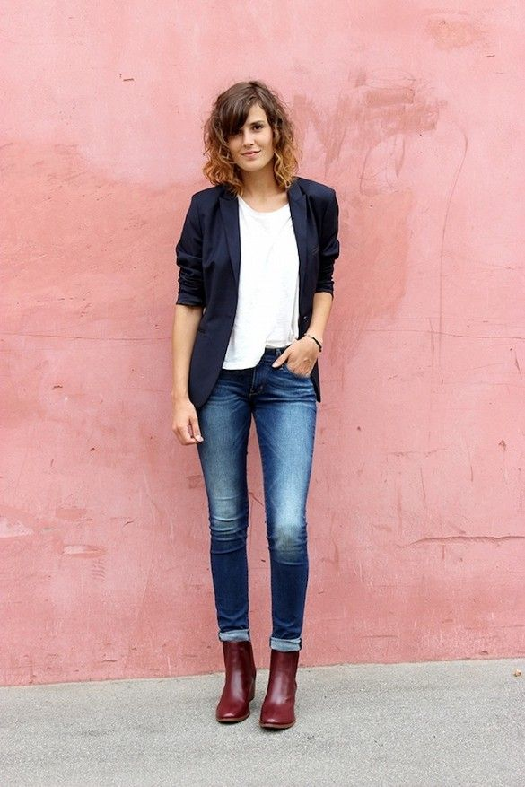 Shop this look on Lookastic:  http://lookastic.com/women/looks/white-crew-neck-t-shirt-navy-blazer-blue-skinny-jeans-burgundy-ankle-boots/9131  — White Crew-neck T-shirt  — Navy Blazer  — Blue Skinny Jeans  — Burgundy Leather Ankle Boots