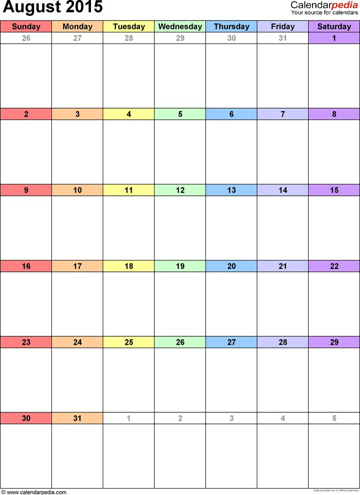 2015 monthly calendar as printable Word, Excel & PDF templates