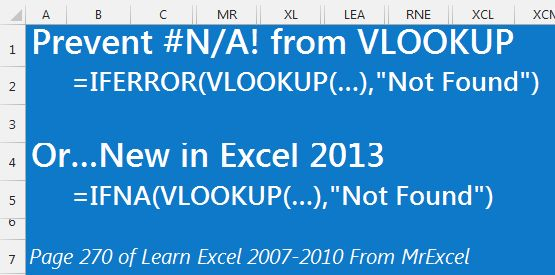 Prevent the #N/A from VLOOKUP in Excel