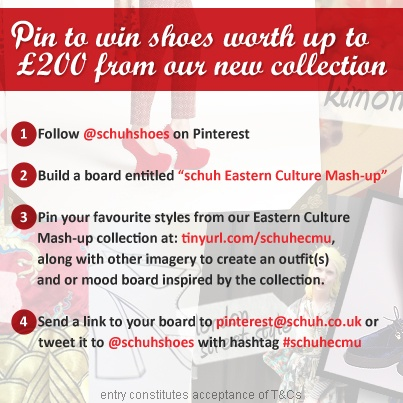 Our Eastern Culture Mash-up collection has now launched and, to celebrate, we're giving you the chance to win up to two hundred pounds worth of shoes from the collection. Get inspired here: http://www.schuh.co.uk/inspiration.   Check out the T and Cs here: http://on.fb.me/PgzHT1