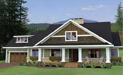 Bungalow Style House Plans - 1999 Square Foot Home , 1 Story, 3 Bedroom and 2 Bath, 2 Garage Stalls by Monster House Plans - Plan 38-503
