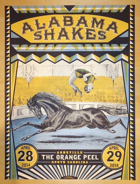 "Alabama Shakes - silkscreen concert poster (click image for more detail) Artist: Status Serigraph Venue: The Orange Peel Location: Asheville, NC Concert Date: 4/28/2014 Size: 18"" x 24"" Edition: Artist"