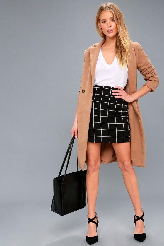 0bc713f0f Competitive Advantage Black and White Grid Print Mini Skirt | Styles ...