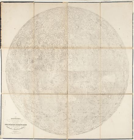 BEER, Wilhelm and Johann Heinrich MÄDLER. Mappa Selenographica. Berlin: S. Schropp and Comp. 1834. #space #moon #map