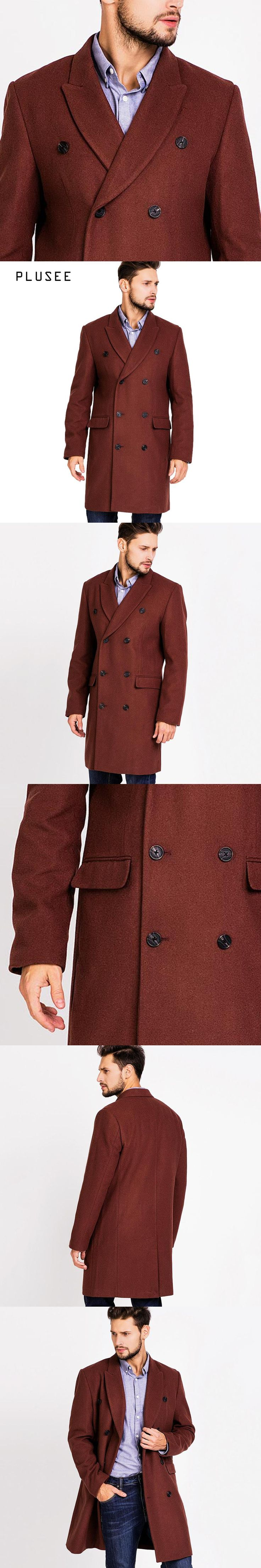 Plusee long wool coat men double breasted wool coat male 2017 spring turn down collar wine red long wool coat men overcoat M-XXL