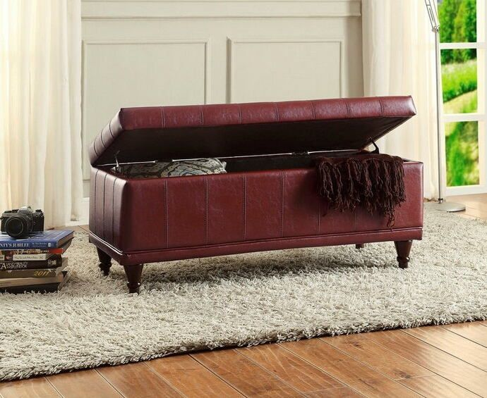 "Afton collection red bycast vinyl upholstered storage ottoman bench with tufted seat. Measures 42"" x 17"" x 19"" H. Some assembly required."