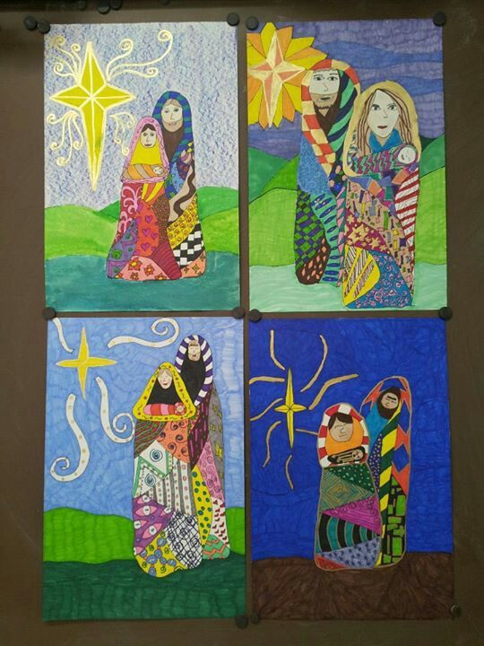 Klimpt inspired Holy Family. 5th grade art. Elementary Christmas art project. Art teacher Jennifer Lipsey Edwards
