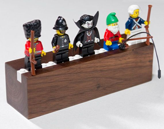 Hardwood Display/Shelf for 5 Lego Minifigs by ChrobleDesigns