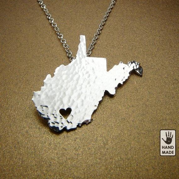 West Virginia necklace -- location of heart customizable -- via StefanoArt. $48