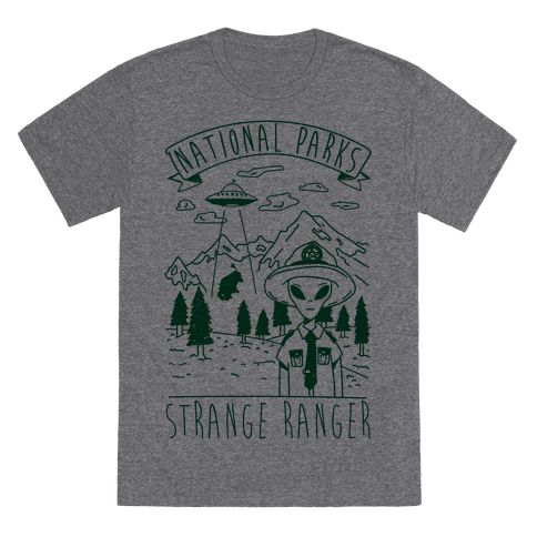 Show your love of aliens and the great outdoors with this National Park Ranger UFO mashup design. This Design features an illustration of an alien dressed up as a park ranger, trees, mountains and a tiny buffalo being abdicated by a ufo.