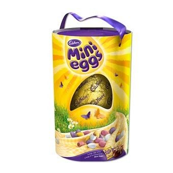A large Cadbury Easter egg with Cadbury Mini Eggs, the Cadbury Large Mini Eggs Easter Egg has a mlk chocolate egg with Cadbury Mini eggs, presented in a tall box with a ribbon handle. Perfect for a Cadbury Mini Eggs fan.  #easter #chocolate #eastereggs