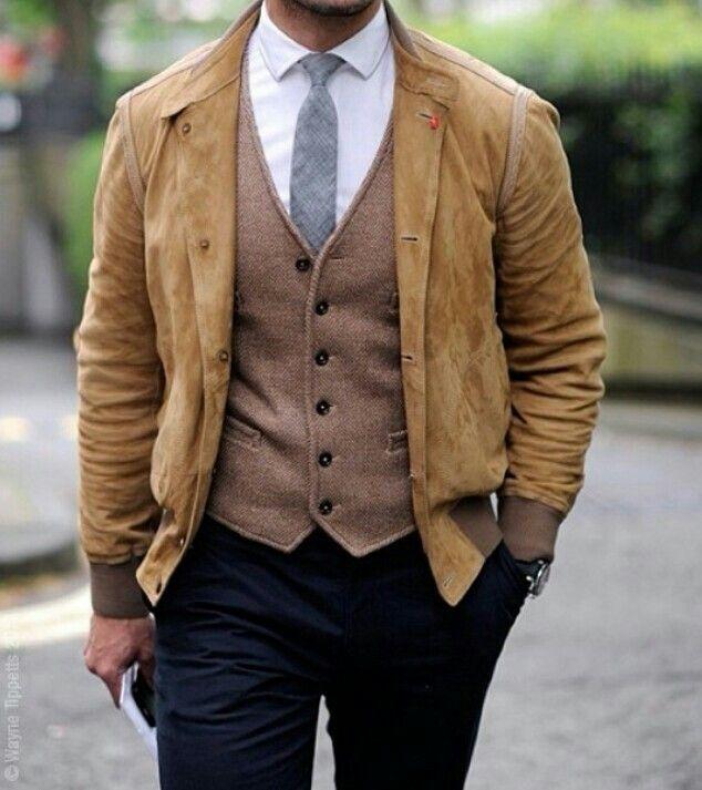 Tan suede jacket black trousers light brown vest | Dance ...