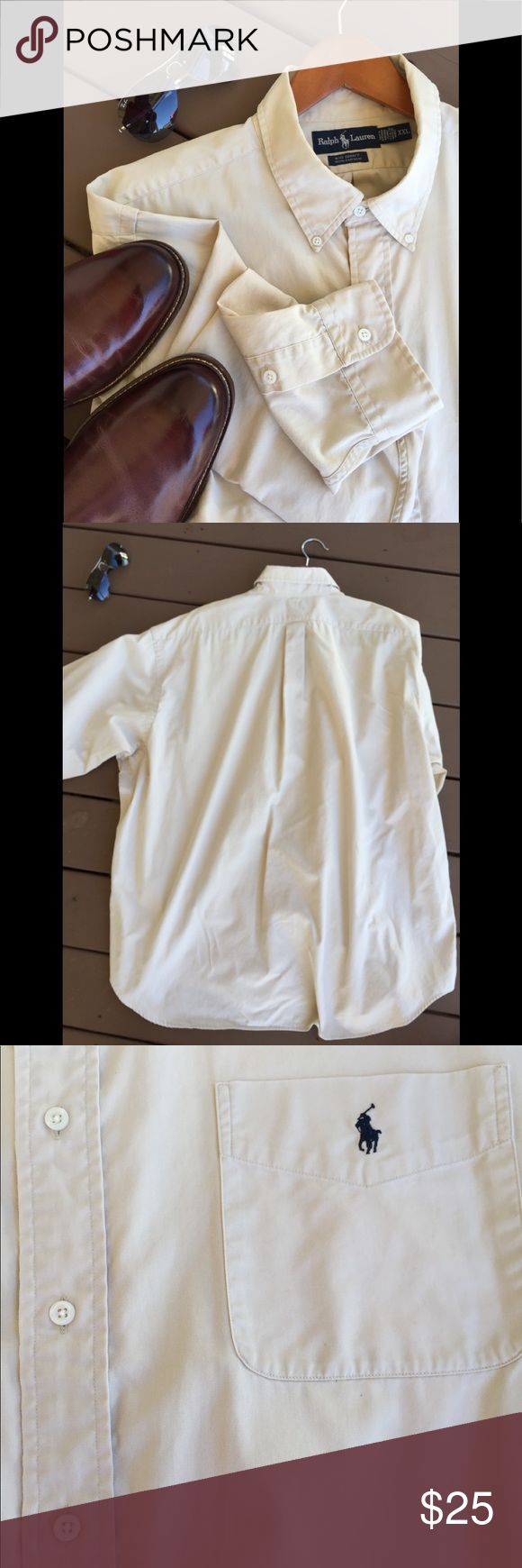 Men's Ralph Lauren Cream Color Big Shirt Men's Ralph Lauren Cream Color Big Shirt Size XXL 100% Cotton  Comes from a pet free and smoking free home Ralph Lauren Shirts Casual Button Down Shirts