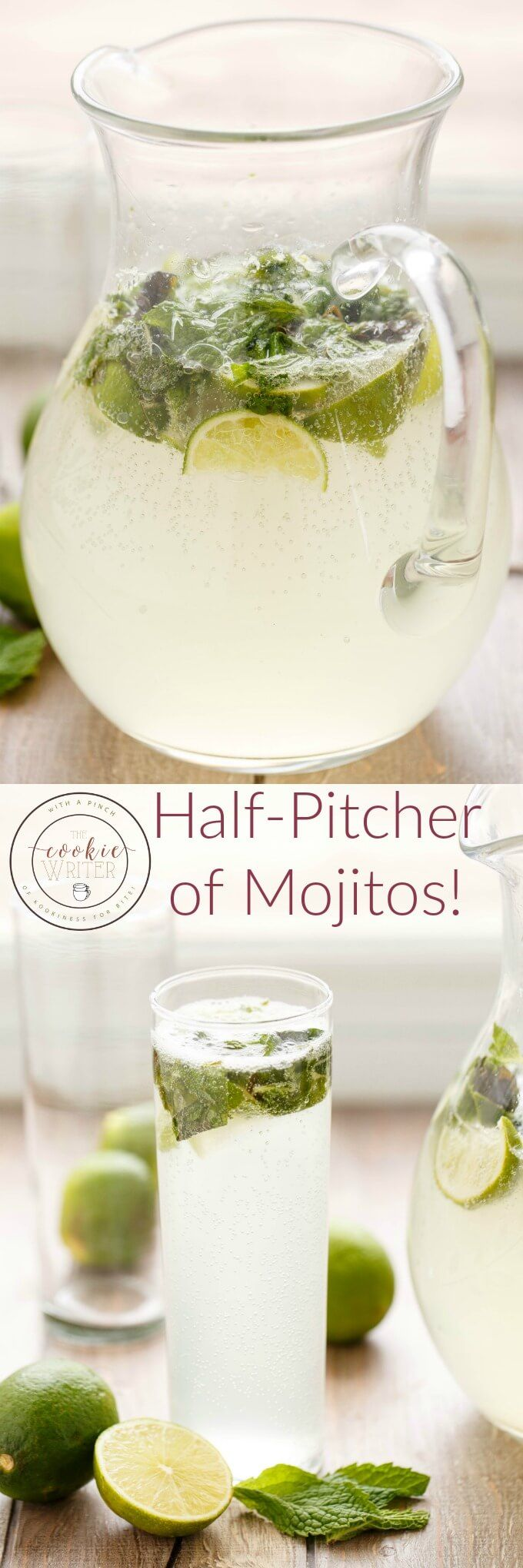 Half Pitcher of Mojitos | #alcohol #drink #rum | http://thecookiewriter.com