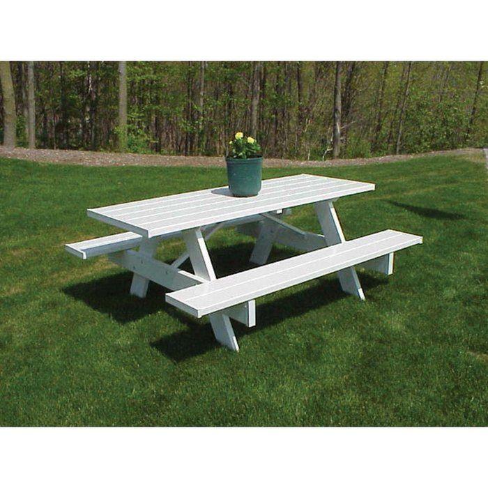 Picnic table for summer evening dinner: Picnic Tables, Outdoor, Picnics, Vinyl, Pvc Picnic, Dura Trel Traditional, Garden, Traditional White