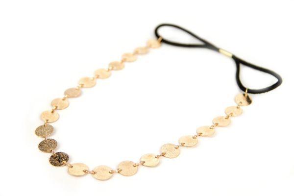 Headband cheveux en métal pièce d'or - Golden headband