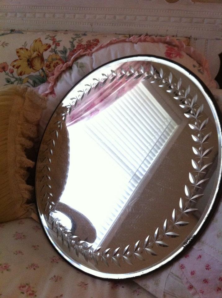 Vintage Etched Round Vanity Display Mirror  Round Vintage