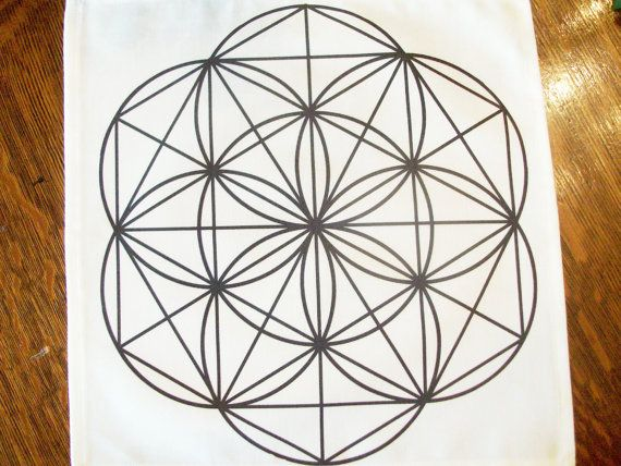 12x12 Flower of Life Black Line Crystal Grid by ...