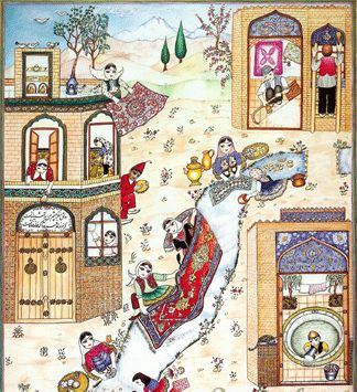 Khane Tekani    Persians start preparing for the Norouz with a major spring-cleaning of their houses, the purchase of new clothes to wear for the new year and the purchase of flowers (in particular the hyacinth and the tulip are popular and conspicuous).