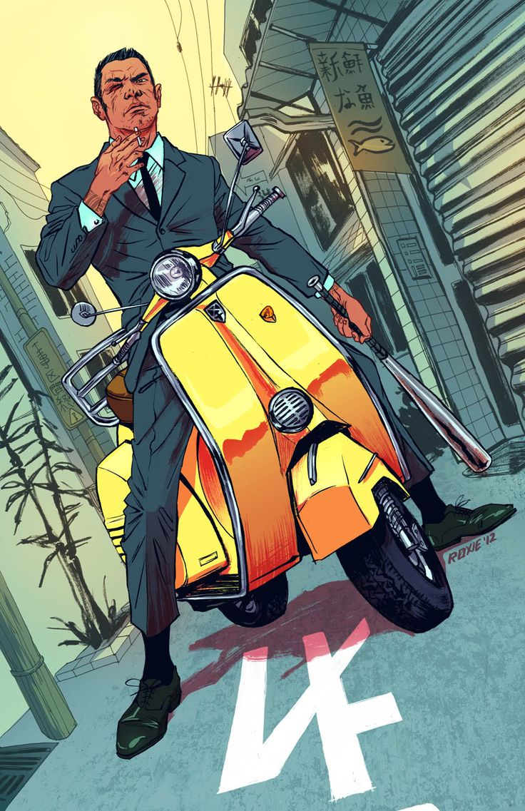 Don't mess with a man on a yellow Vespa. Art by Roxie Vizcarra.