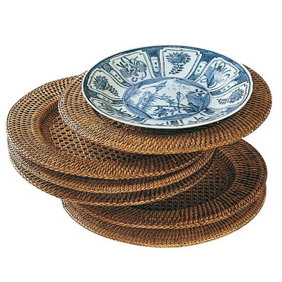 A lovely alternative to traditional placemats, these hand-woven rattan underplates will compliment and enhance any china whilst fully protecting the table surface beneath.