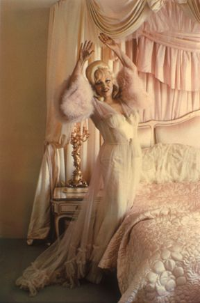 Mae West in a negligee, as photographed by Diane Arbus.