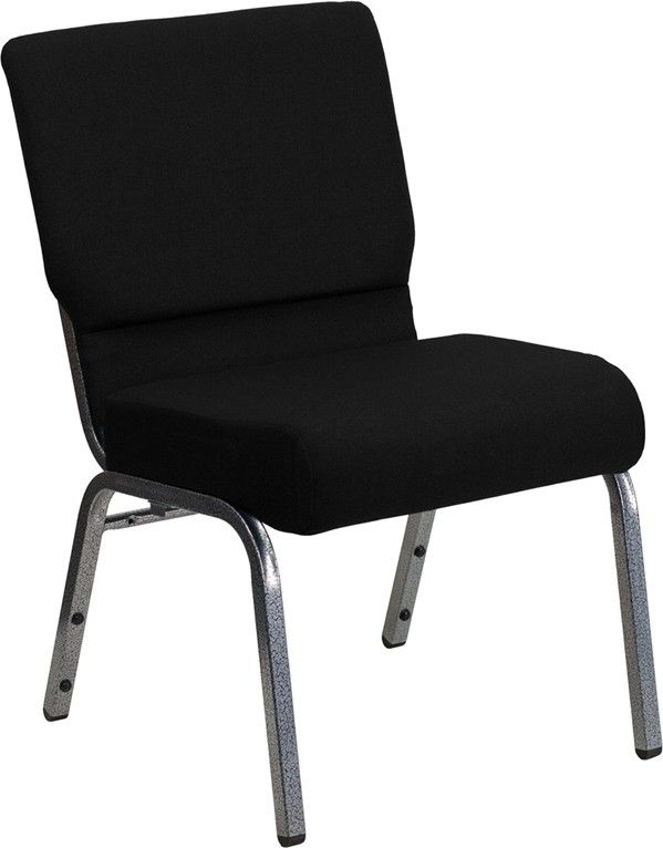 Hercules Series 21 Extra Wide Fabric Stacking Church Chair With 3 75 Thick Seat Silver Vein Frame