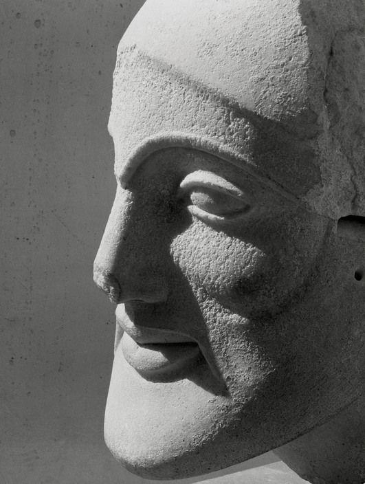 Herbert List  GREECE. Attica. Aegina island. Aphaia temple. Head of a warrior. 1937.