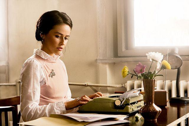 Typist and typewriter