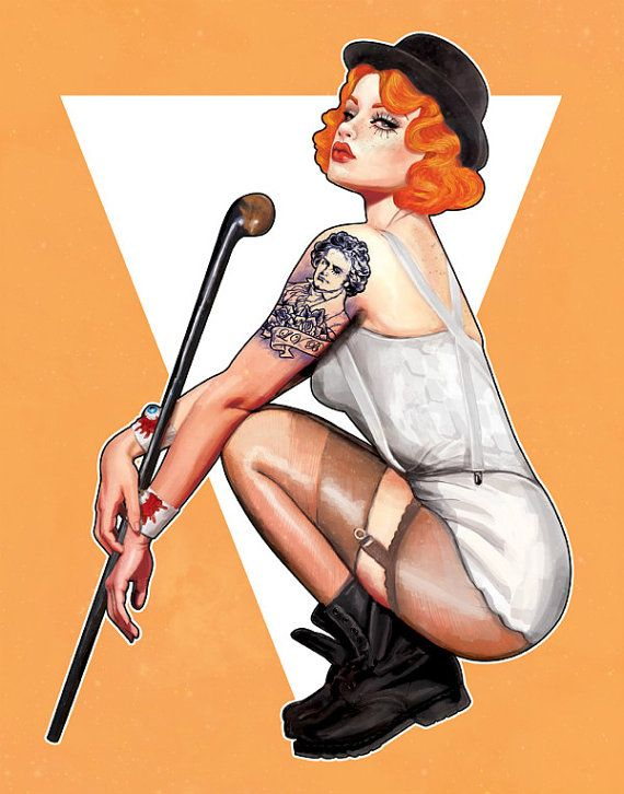 Miss Moloko, Clockwork Orange Pin Up Illustration Art Print 8.5x11 on Etsy, $15.00