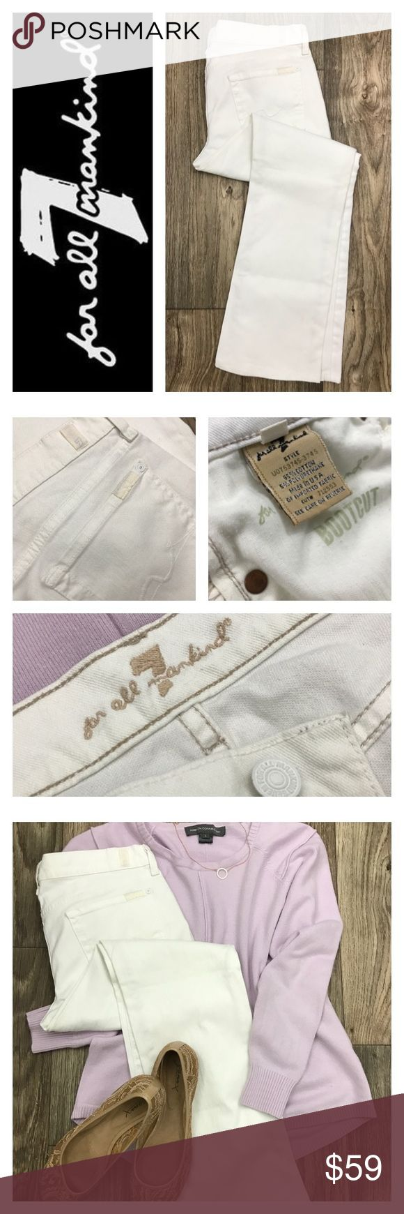 7 FOR ALL MANKIND White Bootcut Jeans Sz 30 Lightly loved.  Waist: 16 Inseam: 29 Outseam: 37 Leg Opening: 8.5 Front Rise: 8 Back Rise: 13 Hips: 19.5  LOVE THIS LOOK!?  Get the top here!  https://poshmark.com/listing/FRENCH-CONNECTION-Lavender-Sweater-Sz-Lrg-59bff964ea3f36a20d001aca  *Please note this listing is for the jeans ONLY* 7 For All Mankind Jeans Boot Cut