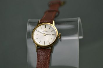 Ladies Omega Gold Watch with New Brown Leather Strap (WR0624)