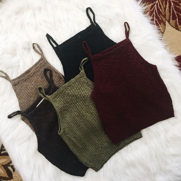 Leah Ribbed Knit Tank (Black, Charcoal, Mocah, Olive, Wine)