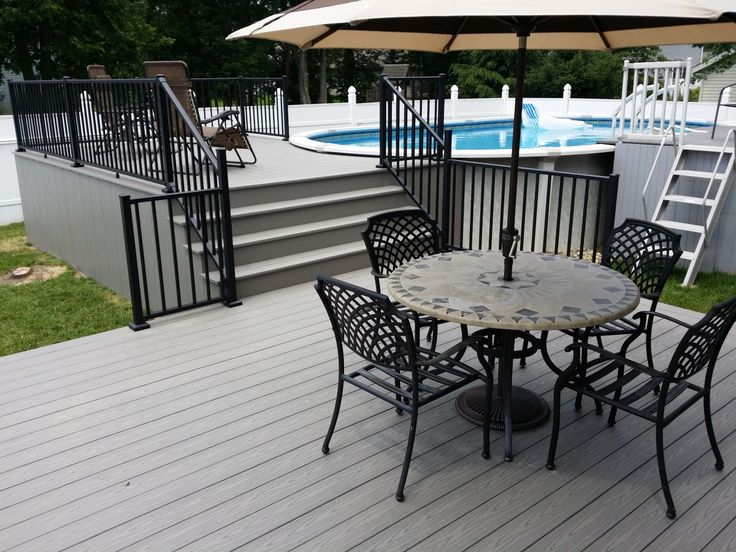 Best 10 pool with deck ideas on pinterest deck with for Above ground pool vinyl decks
