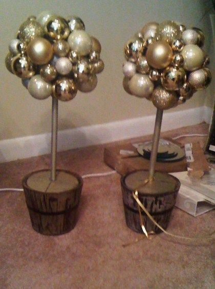 Ornament Topiary :  wedding centerpieces champgne christmas diy gold ivory ornaments reception Final