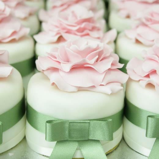 mini pink and green wedding cakes
