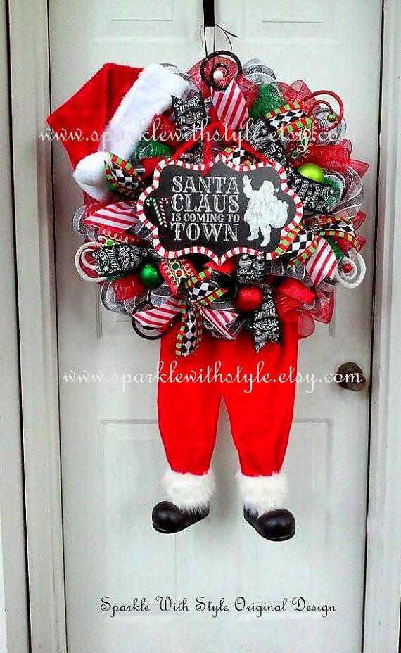 Best 25 Santa Wreath Ideas On Pinterest Christmas