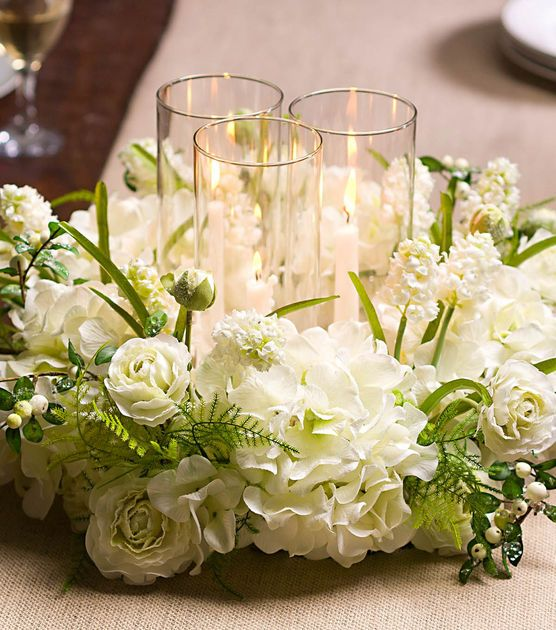 Without the glass holders. Decorate a table for the holidays with this pretty wreath candle holder centerpiece!
