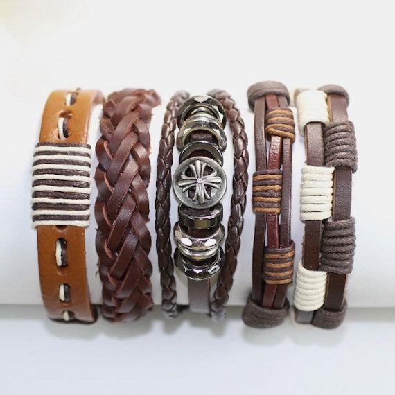 5 Piece Men's Women's Handmade Leather Bracelet Set Mens Leather Set Womens Leather Set Braided Leather Braclet BST-426